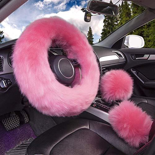 ZYCC 3Pcs Coprivolante Fuzzy, 100% lana australiana Copriruota soffice caldo invernale, Ispessimento universale Caldo antiscivolo Accessori interni per auto 38 cm (Rosa)