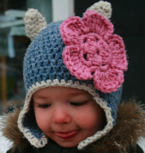 Crochet pattern, baby cat beanie hat with earflaps includes 4 sizes from baby to adult (Crochet Animal hats Book 1) (English Edition)