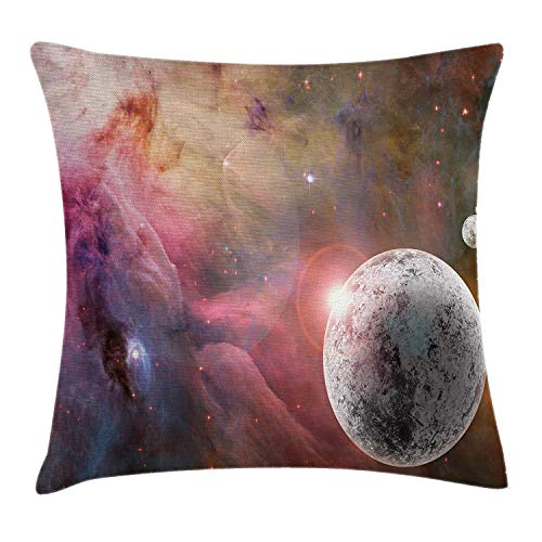 Outer Space Throw Pillow Cover, Frozen Planet in a Star Field with Circular Nebula Fog Energy Image, 18 x 18 Pollici, Rosa