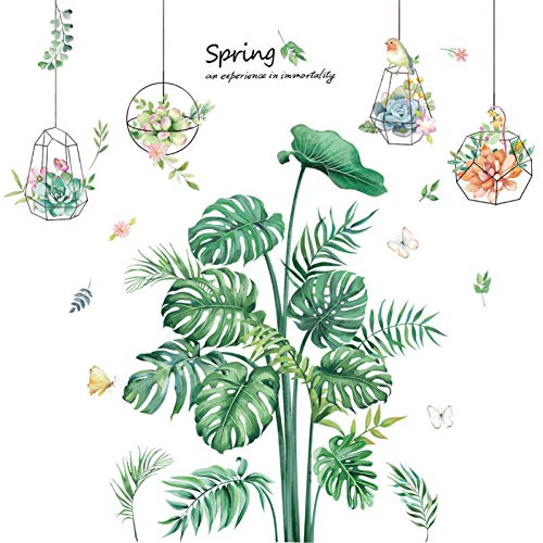 Nordic Style Wall Stickers Turtle Green Leaf Wallpaper Hanging Basket Potted Decorative Painting Bedroom Wall Decor