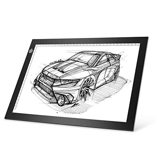 A4 LED Light Box Tracer,Ultra-Thin USB Power Art-Craft LED Trace Light Pad Stepless Adjustable Light Table for Drawing, Weeding,Diamond Painting, Sketching, Animation(Black)