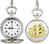 BEISUOSIBYW Co.,Ltd Collar Vintage Unisex Reloj de Bolsillo Reloj de Bolsillo de Cuarzo Plantilla de velero Cubierta de Rabat Cadena de aleación Relojes con Colgante para Hombres Mujeres