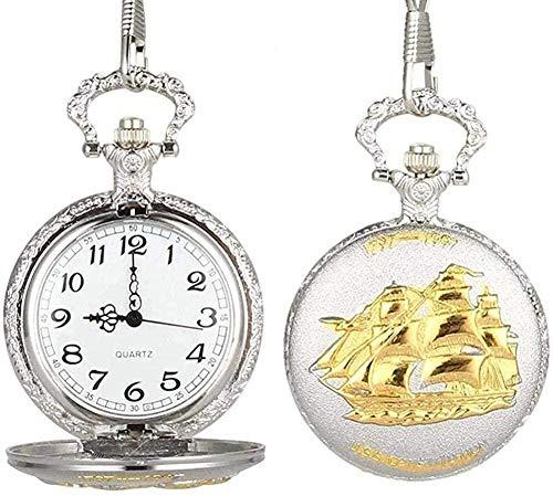 BEISUOSIBYW Co.,Ltd Halskette Vintage Unisex Taschenuhr Quarz Taschenuhr Segelboot Vorlage Rabat Cover Legierung Kette Anhänger Uhren für Männer Frauen