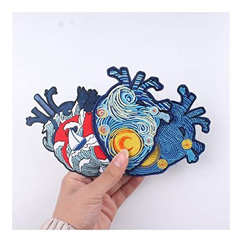 WWDD Máquina de Coser Parche Bordado, Hippie del corazón Pegatinas Etiquetas for la Ropa, Camiseta Accesorios, Planchado en la Ropa (Color : PE4995CT)