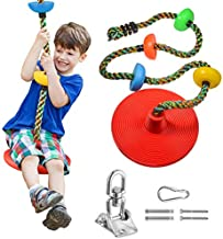 Climbing Rope Tree Swing with Platforms and Disc Swings Seat - Playground Swingset Accessories Outdoor playset for Kids -Locking Snap Hooks/ Swing Hangers -Carabiner and 18 Ft Tree Strap