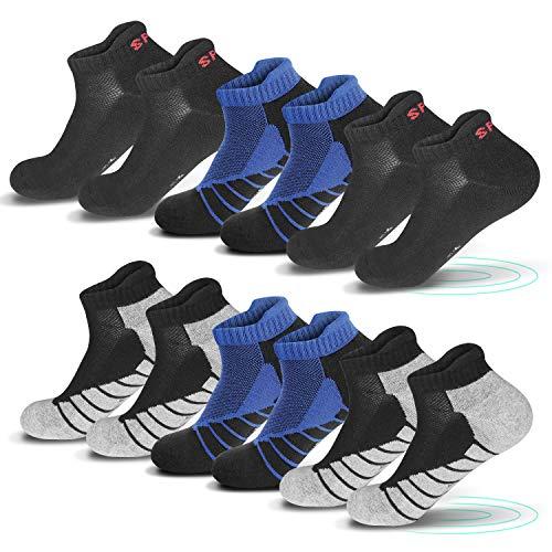 QINCAO Sneaker Socken Herren Damen 6 Paar Sportsocken Kurze Socken Baumwolle Frotteesohle 2 Schwarz - 2 Grau - 2 Blau 35-38