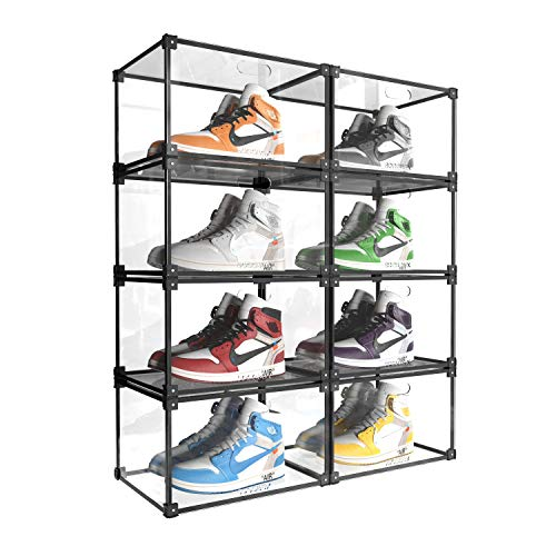 SOGOBOX Clear Acrylic Shoe Box,Foldable Stackable Plastic Shoe Box, As Shoe Box Storage Containers And Organizer,with Magnetic Side Opening Door, Can fully Transparent for Display Sneakers - 8 Pack