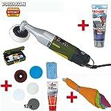 PROXXON Poliermaschine / Polierer / Winkelpolierer WP/E Set - inkl. Polierschwamm, Lammfell-Polierscheibe, Polierfilzscheibe für Metalle, 12 Schleifscheiben, Polieremulsion, kleines...
