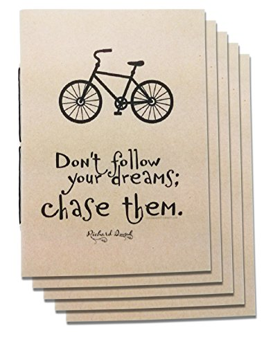 (Set of 5) A6 Dot Grid Handmade 4 x 5.75 inches Notebook/Chase Dream Quote Cover / 60 Dot Page   Lay Flat Binding   Cream Paper