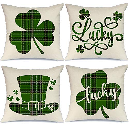 Purchase AENEY St Patricks Day Pillow Covers 18x18 inch Set of 4 for Home Decor Green Buffalo Check ...