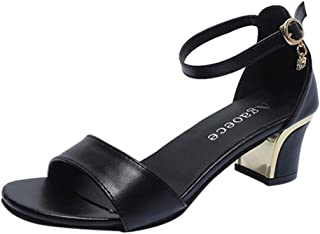 [Yochyan ブーティー] レディース サンダル ハイヒール 女性 美脚 スクエアヒール カジュアルシューズ アウトドア靴 アンクルブーツ パーティー オープントー 夏 通気性 滑り止め ファッション おしゃれ 履き脱ぐ便利 履きやすい
