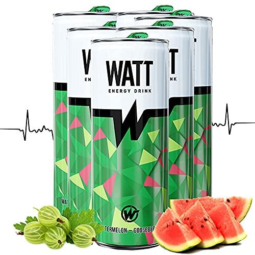 WATT Energy Drinks 6 x 250 ml mit Wassermelonen-Stachelbeer Geschmack   mit Grüner Tee Extrakt   OHNE Pfand Dosen Getränke   Energy für Arbeit, Sport und Gaming
