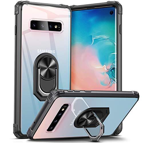 DOSNTO Coque pour Samsung Galaxy S10 Antichoc Anti-Dérapante Protecteur Case avec Aimant Anneau Support, Transparente Silicone Bumper Housse Anti-Rayure Noir
