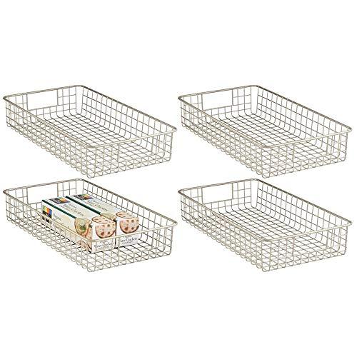 mDesign Household Wire Drawer Organizer Tray, Storage Organizer Bin Basket, Built-In Handles - for Kitchen Cabinets, Drawers, Pantry, Closet, Bedroom, Bathroom - 16 x 6 x 3 - 4 Pack - Satin