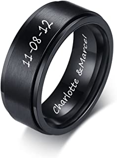 XUANPAI Free Engraving Personalized Men's Stainless Steel Brushed Black Spinner Ring Promise Wedding Band