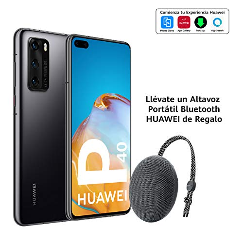 Huawei P40 5G - Smartphone de 6,1' OLED (8GB RAM + 128GB ROM, Triple Cámara Leica de 50MP (50+16+8MP) con visión nocturna, chip Kirin 990 5G, 3800 mAh, carga rápida, EMUI 10 HMS) Negro + altavoz CM51