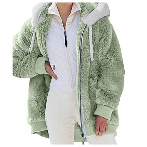 HHWY Chaqueta con capucha para mujer de gran tamaño, vintage, para exteriores, con forro polar, cálido, para el tiempo libre, con capucha, forro polar, con cremallera, parka para mujer, verde, S