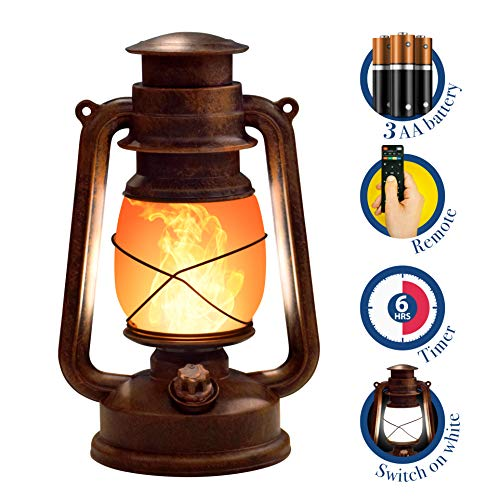 ABAMERICA 2 Modes Vintage Lantern Flame Lantern with Timer and Remote - Battery Operated Antiqued Copper Decorative Hanging Lantern (Full White and Flame Lights)