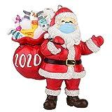 CHOSMO 2020 Frohe Weihnachten Ornamente Harz Quarantäne Geschenk, Maskiert Weihnachtsmann Lustige Ornamente Weihnachtsbaum Ornament Hängen Anhänger Andenken Dekorationen