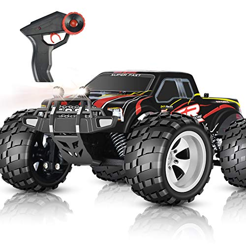 DOUBLE E RC Car 4WD High Speed 20km/h Monster Trucks for Boys Head Lights Outdoor Remote Control Cars Off Road RC Trucks for Boys Girls Kids