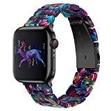 OULUCCI Compatible with Apple Watch Bands 40mm 38mm 44mm 42mm, Fashion Resin iWatch Bands Bracelet with Stainless Steel Buckle for Apple Watch Series 6 / SE / 5/4, Series 3 2 1 (Flower Purple Green, 42mm/44mm)