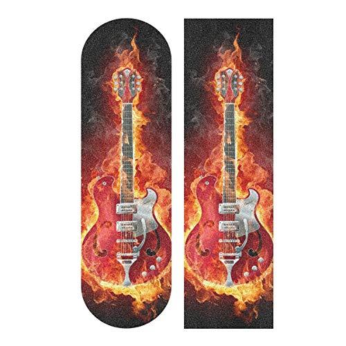 YYZZH Griffband für Skateboard, Motiv: Gitarre in Feuerflamme, 22,9 x 83,8 cm, rutschfestes Schleifpapier, Longboard, Scooter, Griptape, Blatt Aufkleber