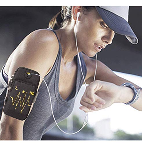 GOCART WITH G LOGO Mobile Arm Bag Men and Women Elastic Travel Mobile Arm Bag Fitness Outdoor Equipment Wrist Bag Best Running Sports Arm Band Strap Holder Pouch Case for Exercise Workout Fits