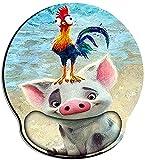 DEESYG Almohadilla Raton Reposamuñecas - Alfombrilla Raton Ergonómica con Bordes Cosidos I Alfombrilla Raton Espuma de Memoria para una Postura Suave en la Muñeca I Animal Cerdo y Pollito