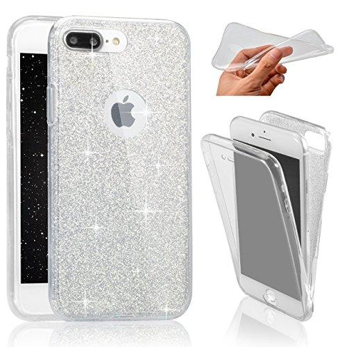 SevenPanda Cubierta de iPhone 7 Plus 5.5', Glizter Cubierta de Bling para iPhone 8 Plus Carcasa de Doble de Pantalla TPU Cubierta Silicona Transparente Dos Lados 360°Caja Ultrafina Cuerpo Funda