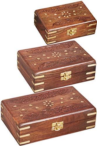3er SET Orientalische kleine Aufbewahrungsbox mit Deckel Dubhe groß | Orientalischer Schmuckkästchen für Mädchen und Damen zur Schmuckaufbewahrung | Marokkanische Schatulle Box aus Holz