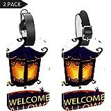 LORVIES Welcome Halloween Light Lantern etiquetas de equipaje etiquetas de viaje etiqueta nombre tarjeta titular para equipaje maleta mochila 2 piezas