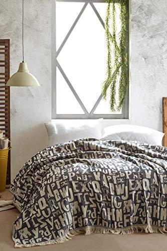 BOHORIA® Premium Tagesdecke Bali | 100prozent Baumwolle | Oeko-Tex® | Bettüberwurf Wohndecke Wendedecke Kuscheldecke Sofadecke mit Muster | extra-groß 220 x 240 cm (Alphabet)