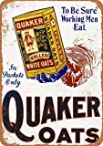KE OU Quaker Rolled White Oats Metal Vintage Tin Sign Plaque Art Poster Wall Decoration