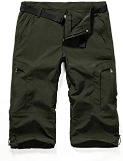 Aiegernle Women's Quick Dry Cargo Shorts,Outdoor Casual Straight Leg Knee Capri Long Shorts for Hiking Camping Travel