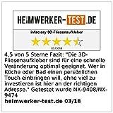 infactory Fliesenfolien: Selbstklebende 3D-Bordüre-Fliesenaufkleber, 29,5 x 19,5 cm, 3er-Set (Fliesen Bordüre zum Aufkleben) - 4