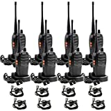 Olywiz Long Range Two-Way Radio with Earpiece Rechargeable Walkie Talkie UHF406-470Mhz Handheld 2 Way Radio 8Pack HTD828