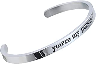 Stainless Steel You're My Person Hand Stamped Cuff Bangle BBF Best Friend Bracelet Gift for Family Lover