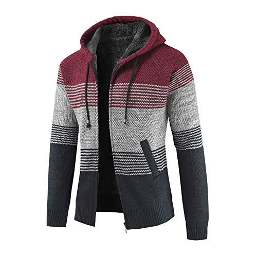 YOCIA Sportjack voor heren, trui met kleurblok, gebreid vest, pluche, dikke gebreide trui met naden, casual, herfst en winter, ritssluiting, fleece, hoodie, outwear, tops, pullover, blouse, mantel, rood, 3XL