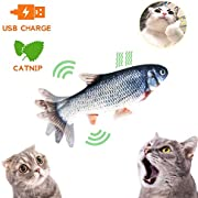 Growom Electric Moving Fish Cat Toy, Funny Interactive Pets Pillow Chew Bite Kick Supplies Catnip Kicker Toys Motion Kitten Toy for Cat/Kitty/Kitten Fish Flop
