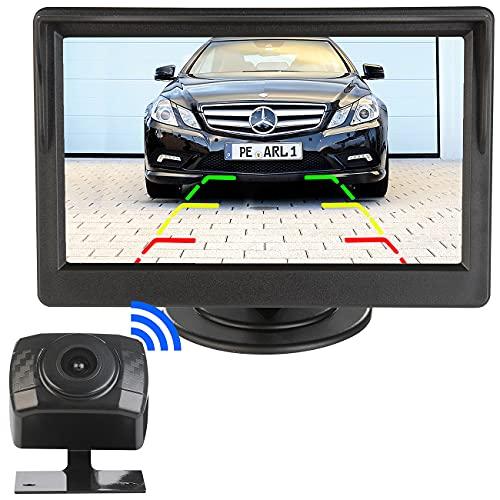 """Lescars Funk Kamera: Kabellose HD-Funk-Rückfahrkamera, AHD-Sensor, 5\"""" (12,7 cm), Nachtsicht (Rückfahrkamera Systeme)"""