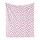 Lunarable Polka Dot Soft Flannel Fleece Throw Blanket, Sugar Pink Color Irregular Polka Dots Formed by Watercolor Paint Brush, Cozy Plush for Indoor and Outdoor Use, 50' x 70', Pink White