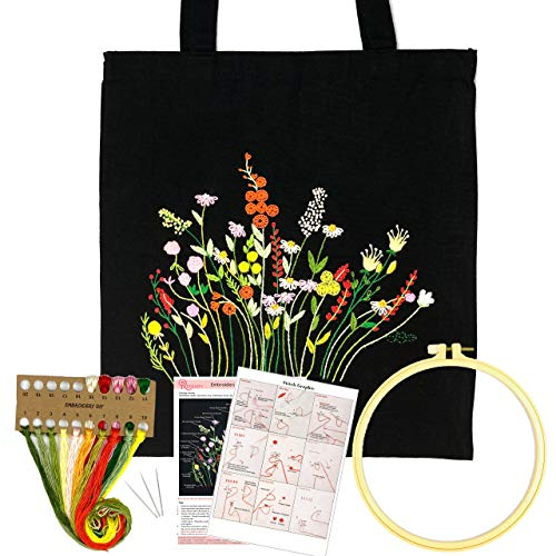 Hand Embroidery Kit for Adults with Pattern Canvas Tote Bag, Reinary Cross Stitch Needlepoint Kit Including Embroidery Bag with Pattern, Embroidery Hoop, Color Threads, Needles (Flowering Shrubs)