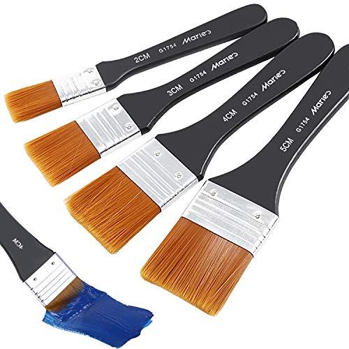 COCOCITY 4 Stück Flachpinsel, Lasurpinsel Künstlerpinsel Set Aquarell Malerpinsel Acryl Pinselset Ölmalpinsel für Malerei Ölmalerei Ölfarben Bürste (20/30/40/50mm)