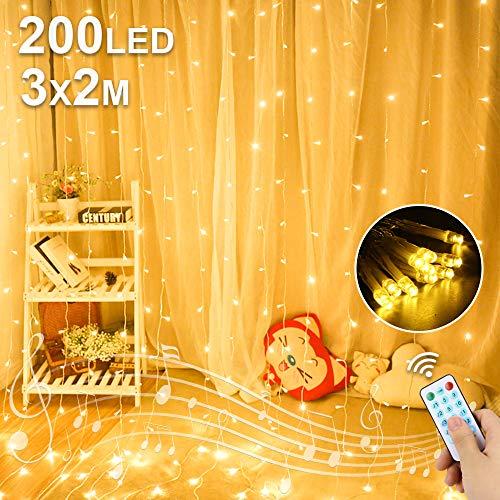 LED USB Lichtervorhang 3M x 2M, 200 LED USB Lichterketten Vorhang mit 8 Modi Fernbedien IP65 Wasserdicht LED...