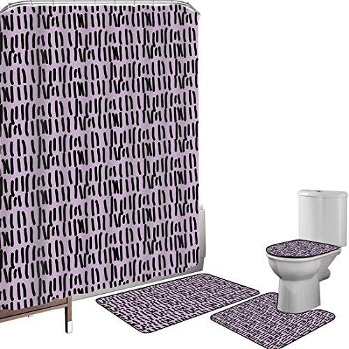 Ensemble de rideau douche Accessoires salleViolet Couverture toilette pour tapis bain Jour de cellule en prison comptant sur un mur Inspiré de lignes dessinées à la main dans une rangée d'images,de li