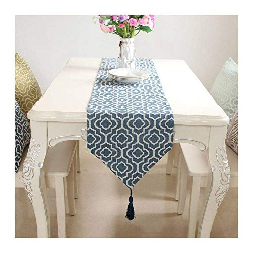 CUIZC Camino de mesa con diseño geométrico de algodón y lino en estilo nórdico, camino de mesa de comedor para televisión, zapatero, cubierta de tela para el hogar