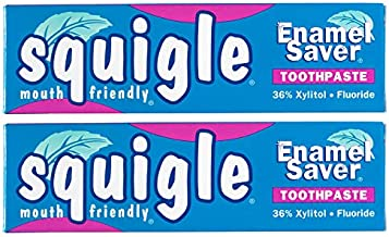 Squigle Enamel Saver Toothpaste (Canker Sore Prevention & Treatment) Prevents Cavities, Perioral Dermatitis, Bad Breath, Chapped Lips - 2 Pack