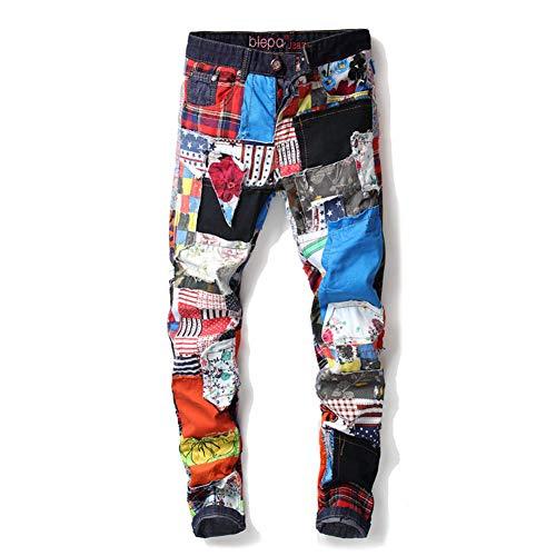 WYX Männer Jeans New Trend Gerade Slim Fit Jeans Bunte Stoffnähte Verwaschene Jeanshose Herren Jeans,A,30
