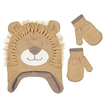 Girls Knitted Animal Beanie Winter Hat and Glove Set [4015]  Lion Hat and Mitten