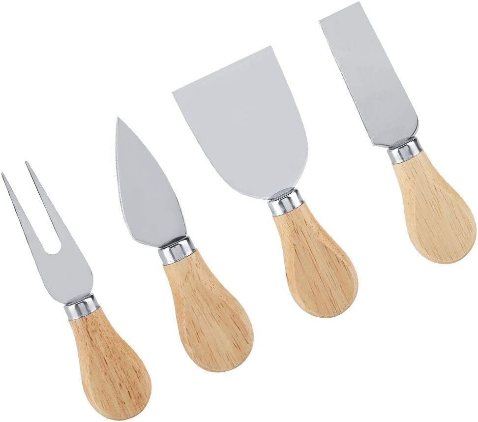 Stainless Special price for a limited time Steel Wooden Handle Cheese Genuine Free Shipping Set Knife C Knives